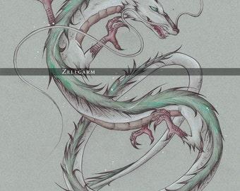 Large - Haku - Spirited Away Art Print