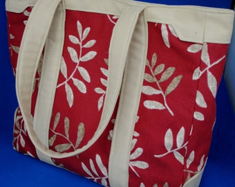 Large Red and Tan Fabric Tote - Reduced Shipping*