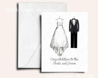 Congratulations Wedding Card - Congrats Card, Wedding Card, Bride and Groom Congrats