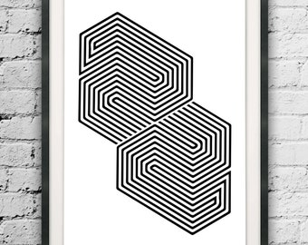 Abstract Lines, Black and White, Lines Art Print, Optic Illusion Art, Op Print, Home Art, Op Art, Optic Illusion Poster, Minimalist Decor