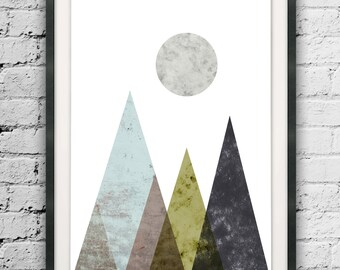 Geometric Print, Watercolor Mountains Print, Large Mountains, Abstract Triangle, Mountains Art, Minimalist Abstract, Watercolor Printable