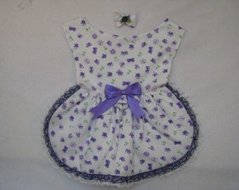 Dog Pet Rabbit Pig Lace Harness Dress Purple Butterflies XS-M Hair Bow Charm Yorkie Maltese Shih Tzu Chihuahua Small Pets Ready to Ship