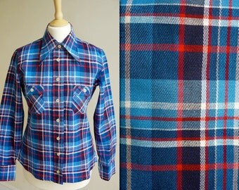 1970s Plaid Flannel Shirt * Size Small