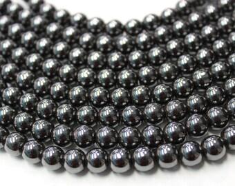 Hematite Beads,4mm 6mm 8mm 10mm 12mm Full Strand 16 inches, Gemstone Beads, Beading Supplies, Jewelry Supplies