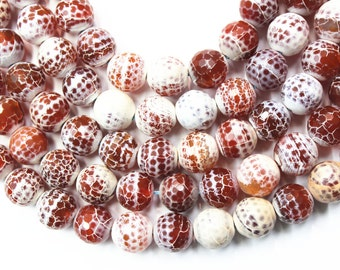 14mm Faceted Fire Agate Beads, 14 inches Full Strand, Gemstone Beads, Beading Supplies, Jewelry Supplies