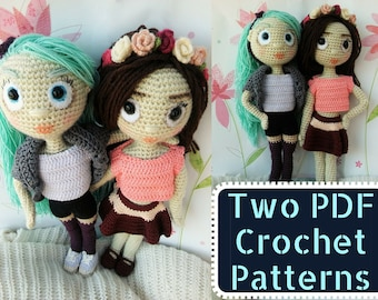 Special Deal : Amidolls Flora & Kaille, a PDF Crochet Pattern in English, Amigurumi Girl, Stuffed Toy Doll
