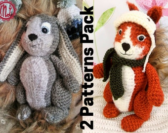 SPECIAL DEAL - 2 PDF crochet patterns, amigurumi bunny rabbit and squirrel, written patterns in English