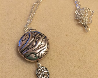 silver drop and leaves necklace