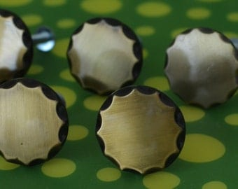Vintage Black and Gold Plastic Drawer Pulls Lot of 8  - 1950s Fifties
