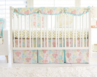 Glitz Garden in Aqua & Gold Crib Bedding for Baby Girl | Fabric Swatches