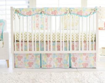 Aqua, Pink & Gold Floral Crib Bedding for Baby Girl | Glitz Garden Baby Bedding Collection