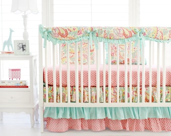 Pink and Aqua Paisley Crib Bedding for Baby Girl | Sweet Pink Paisley Baby Bedding Collection