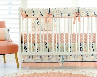 Navy, Aqua and Peach Floral Crib Bedding for Baby Girl | Summer Grove Baby Bedding Collection