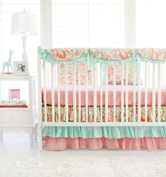 Pink and aqua paisley crib bedding for by threewishesbeddingco Baby girl bedding
