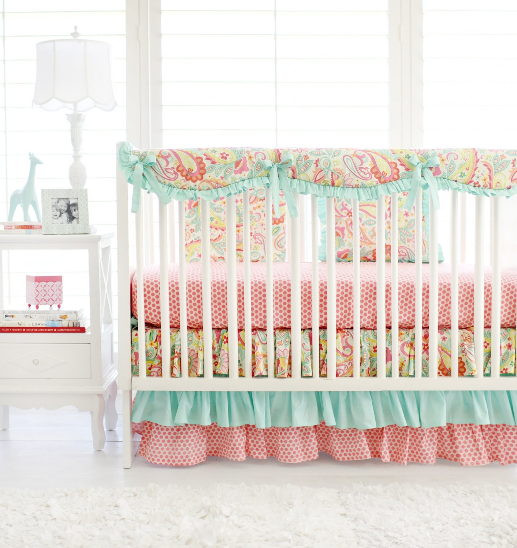Pink And Aqua Paisley Crib Bedding For By Threewishesbeddingco