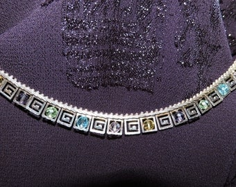 Crystals Choker Necklace Sterling Silver