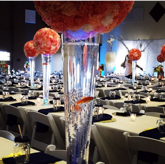 Kissing ball paper flower centerpieces and