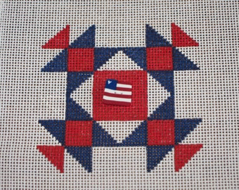 Patriotic Flag Quilt Needlepoint Canvas