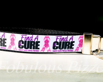 Support Cystic Fibrosis Awareness Wristlet Keychain/Key Fob. Find A Cure Cystic Fibrosis Awareness Wristlet