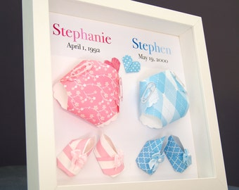 Personalized Name And Meaning Paper Origami Diapers And Baby Booties  Shadowbox Frame Custom Art Baby Shower