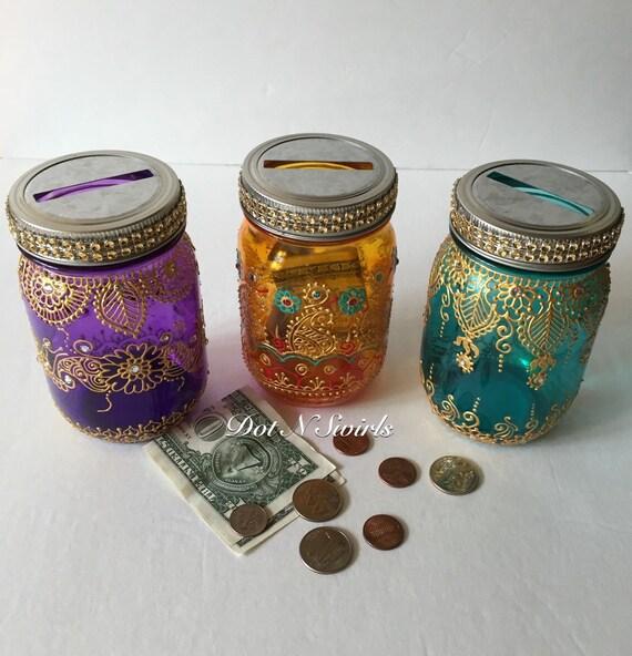 Henna decorated colorful mason coin jar piggy bank coin for Mason jar piggy bank