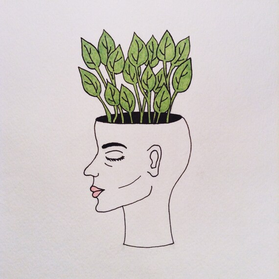 Line Drawing Etsy : Items similar to a growing mind original illustration on