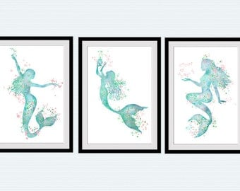 Superbe Mermaid Art Poster Set Of 3 Prints Mermaid Watercolor Home Decoration Set  Of 3 Mermaids Wall
