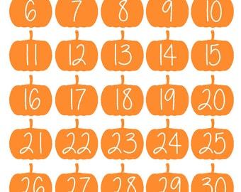 October Pumpkin Date Stickers (planner stickers)