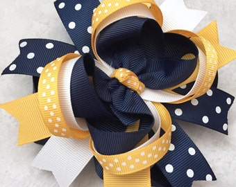 School uniform bow-school uniform hair bow-navy yellow gold white school uniform hair bow-layered school bow-white navy gold uniform bow