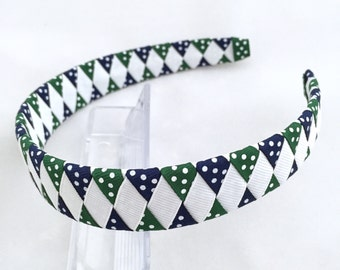 Navy hunter green white school headband, navy hunter green uniform headband-hunter green navy white  hair bow-navy white green headband