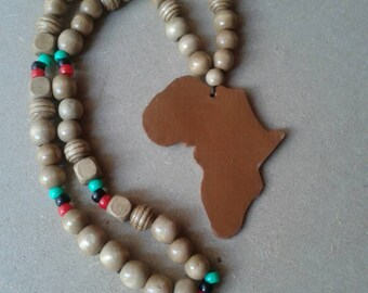 RBG africa necklace with wooden beads