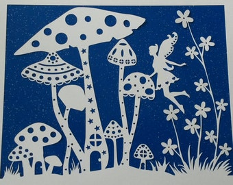 UNFRAMED Fairy And Toadstool Paper Cut Design | Magical Fairy House | Birthday Gift | Christmas Present | Love Hearts Stars | Gift For Her