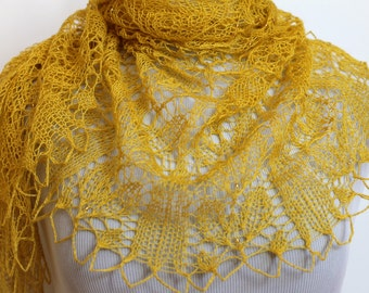 Lace beaded shawl.Hand knitted lace shawl with beads.Yellow knit shawl.