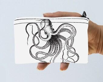 Octopus Little Zipper Pouch - Vintage Octopus Nautical Coin Purse - Gadget Case Padded - Travel Pouch