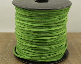 Green faux leather suede cord,soft suede cord,suede string, jewelry string, jewelry suede cord,10 yards,1.5 mm*2.5 mm,WYJ-P128