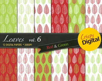 Lovely Leaves Digital Papers Green and Red 12pcs 300dpi Digital Download Collage Sheets Scrapbooking Leaves Printable Paper