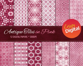 Antique Tiles Pink Digital Papers 12pcs 300dpi Digital Download Collage Sheets Scrapbooking Printable Paper