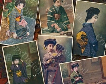 Geisha Postcard Set of Six Vintage Printable Digital Download