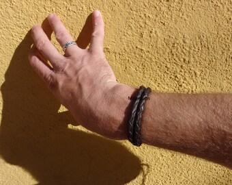 custom men's braided leather bracelet 4 & 8 strand braid double wrap leather bracelet brown leather black leather bracelet mens gift for him