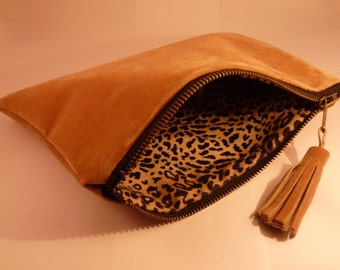 Wallet Beige synthetic suede - internal printed Leopard