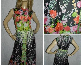 Vintage 70s Multicoloured bold POPPY Print floaty chiffon maxi dress 10-12  1970s Sleeveless floral