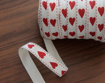 Vandoros 15mm Printed Twill Ribbon (Red Hearts) PER METRE