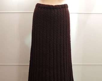 Hand knit wool long skirt.