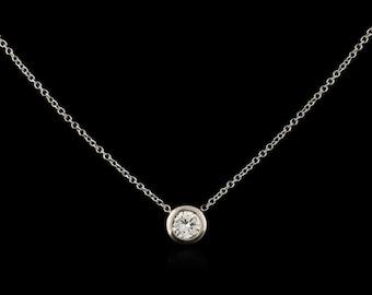 Estate 14kt White Gold Diamond Solitaire Pendant (.32cts)