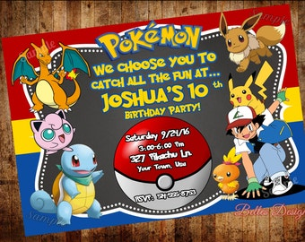 Pokemon Birthday Invitation, Pokemon Party Invitations, Birthday invitations, Pikachu party, (Digital File)
