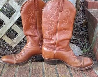 Mens Vintage Leather Cowboy Boots - Mens Cowboy Boots - Cowboy Boots - Boots - Mens Boots - Eldorado Cowboy Boots - Size 9 cowboy boots