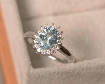 Genuine aquamarine ring, oval cut aquamarine, March birthstone ring, sterling silver,