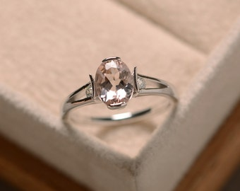 Morganite ring, oval morganite, sterling silver, promise ring, engagement ring