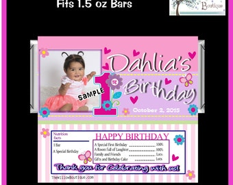 Photo Hershey Bar wrappers SWEET GIRL 1ST BIRTHDAY Favors Personalized with your childs name etc.
