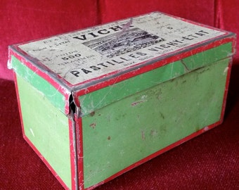 Vintage Tin Box, Vichy, Antique French Box, Red and Green, Old Box, 1850s